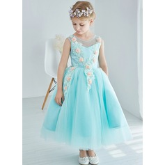 A-Line/Princess Ankle-length Flower Girl Dress - Tulle/Lace Sleeveless Scoop Neck With Lace/Flower(s)