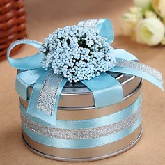 Smiling Flower Cylinder Favor Tin With Ribbons