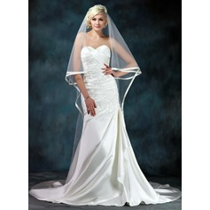 Trumpet/Mermaid Sweetheart Chapel Train Satin Wedding Dress With Beading Appliques Lace Cascading Ruffles