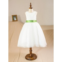 Ball Gown Knee-length Flower Girl Dress - Tulle Sleeveless Scoop Neck With Sash