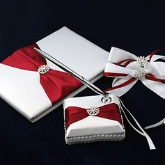 Pure Elegant Wedding Guest Book and Pen Set in Satin With Decorative Bows(101018146)