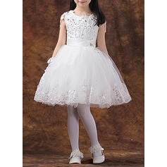 Ball Gown Knee-length Flower Girl Dress - Organza/Satin/Tulle/Lace Short Sleeves Scoop Neck With Appliques/Rhinestone