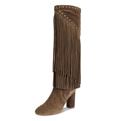 Women's Suede Chunky Heel Boots Knee High Boots With Tassel shoes