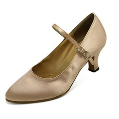 Satin Heels Pumps Modern Dance Shoes With Buckle (053013034)