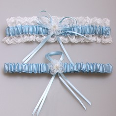 Amazing Satin With Pearl/Lace Wedding Garters (104073711)