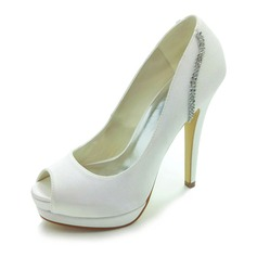 Satin Stiletto Heel Peep Toe Platform Pumps Wedding Shoes With Rhinestone (047017780)