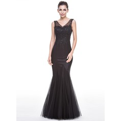 Trumpet/Mermaid V-neck Floor-Length Tulle Evening Dress With Beading Appliques Lace Sequins