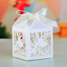 Love Birds Cut-out Cuboid Favor Boxes With Ribbons (Set of 12)