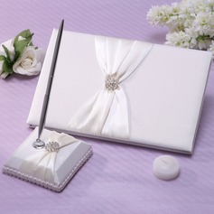 Beautiful Satin Rhinestones Guestbook/Pen Set