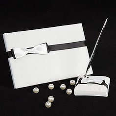 Black & White Wedding Guest Book And Pen Set With Ribbon Bow(101018177)