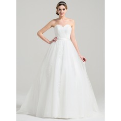 Ball-Gown Sweetheart Sweep Train Tulle Wedding Dress With Ruffle Appliques Lace