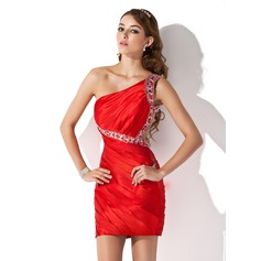 Sheath/Column One-Shoulder Short/Mini Charmeuse Homecoming Dress With Ruffle Beading