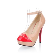 Patent Leather Stiletto Heel Closed Toe Platform Pumps With Buckle (085025200)