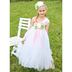 Empire Knee-length Flower Girl Dress - Tulle Sleeveless One-Shoulder With Lace/Beading/Flower(s)/Bow(s)