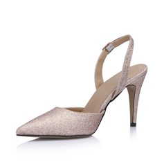 Leatherette Sparkling Glitter Cone Heel Pumps Closed Toe Slingbacks shoes