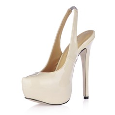 Women's Patent Leather Stiletto Heel Platform Pumps Slingbacks