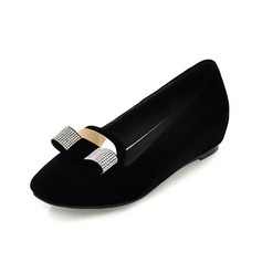 Suede Low Heel Flats Closed Toe With Rhinestone shoes