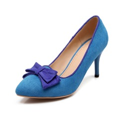 Suede Stiletto Heel Pumps Closed Toe With Bowknot shoes