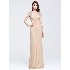 Sheath/Column V-neck Floor-Length Jersey Prom Dress With Beading Appliques Lace Sequins