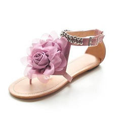 Leatherette Low Heel Flats With Flower (087014667)