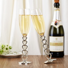 Personalized Heart design Glass Toasting Flutes (Set of 2)