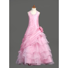 Ball Gown Floor-length Flower Girl Dress - Taffeta/Organza Sleeveless Scoop Neck With Ruffles/Beading/Flower(s)/Sequins/Pick Up Skirt