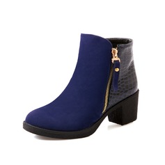 Suede Leatherette Chunky Heel Ankle Boots With Zipper shoes