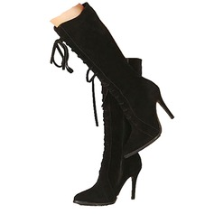 Women's Suede Stiletto Heel Mid-Calf Boots With Lace-up shoes