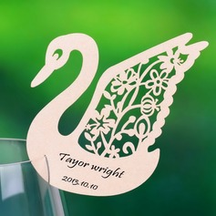 Swan Design Pearl Paper Place Cards