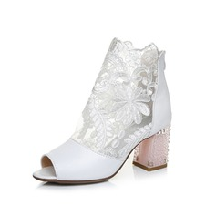 Women's Real Leather Lace Chunky Heel Peep Toe Ankle Boots With Lace-up Split Joint shoes