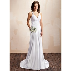 A-Line/Princess Halter Court Train Charmeuse Lace Wedding Dress With Ruffle
