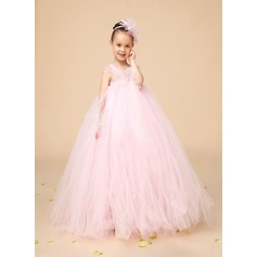 Ball Gown Ankle-length Flower Girl Dress - Tulle Sleeveless Square Neckline With Bow(s)