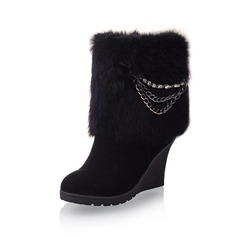 Leatherette Wedge Heel Platform Ankle Boots With Rhinestone Fur shoes