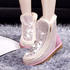 Women's Suede Flat Heel Snow Boots With Crystal Others shoes
