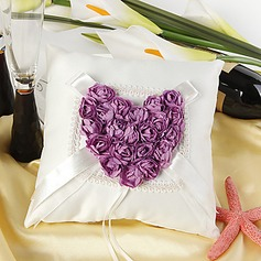 Ring Pillow in Satin With Red Rose Heart