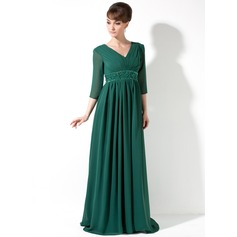 Empire V-neck Sweep Train Chiffon Holiday Dress With Ruffle Beading Sequins
