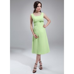A-Line/Princess Scoop Neck Knee-Length Chiffon Chiffon Maternity Bridesmaid Dress With Sash Bow(s)