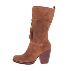Women's Real Leather Chunky Heel Closed Toe Boots Knee High Boots shoes