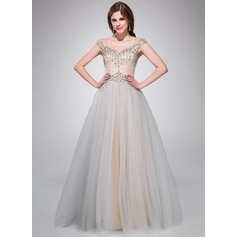 A-Line/Princess Off-the-Shoulder Floor-Length Taffeta Tulle Prom Dress With Beading Sequins
