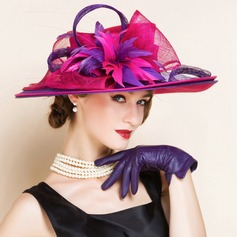 Ladies' Amazing Summer Cambric With Feather Bowler/Cloche Hat (196075554)
