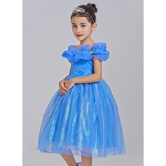 A-Line/Princess Tea-length Flower Girl Dress - Tulle Short Sleeves Off-the-Shoulder With Appliques