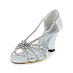 Women's Silk Like Satin Wedge Heel Peep Toe Sandals With Rhinestone