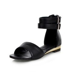 Leatherette Flat Heel Sandals With Buckle shoes