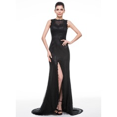 Trumpet/Mermaid Scoop Neck Sweep Train Lace Evening Dress With Beading Sequins Split Front