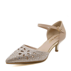 Women's Leatherette Stiletto Heel Pumps Closed Toe With Rhinestone Hollow-out shoes