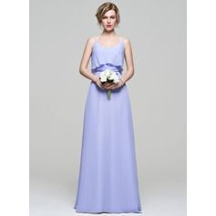 A-Line/Princess Scoop Neck Floor-Length Chiffon Bridesmaid Dress With Ruffle Bow(s)