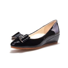 Women's Leatherette Wedge Heel Flats Closed Toe With Bowknot shoes