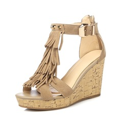 Women's Real Leather Wedge Heel Sandals With Tassel shoes (087087388)