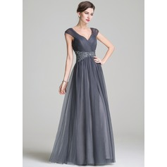 A-Line/Princess Sweetheart Floor-Length Tulle Mother of the Bride Dress With Ruffle Beading Appliques Lace Sequins