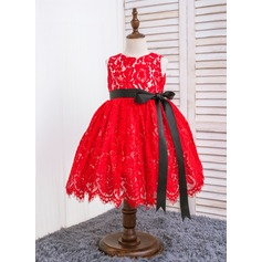 Ball Gown Knee-length Flower Girl Dress - Cotton/Chinlon Sleeveless Scoop Neck With Lace/Bow(s)